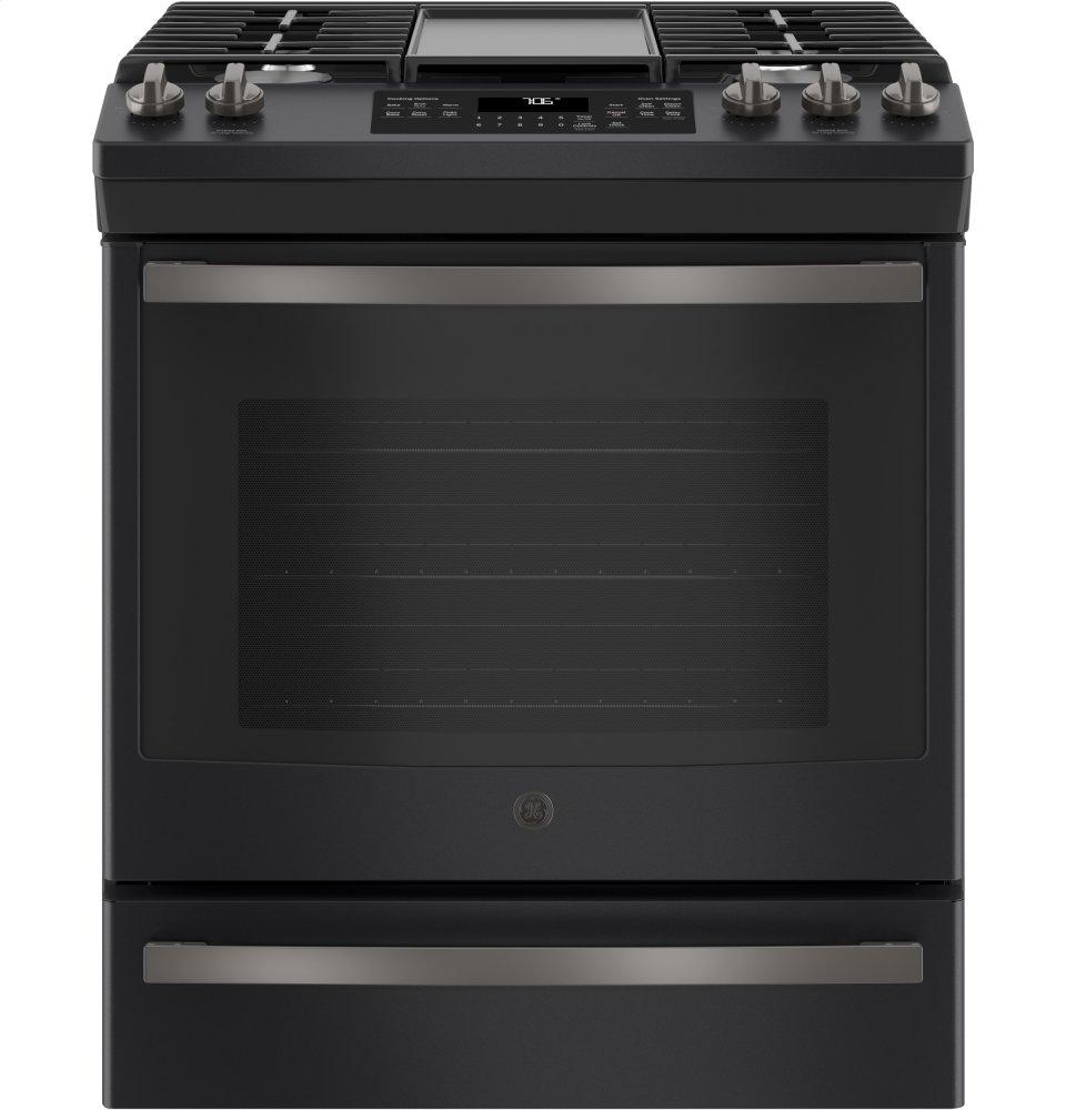 """GE®30"""" Slide-In Front-Control Convection Gas Range"""
