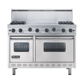 """Metallic Silver 48"""" Sealed Burner Range - VGIC (48"""" wide, four burners 24"""" wide griddle/simmer plate)"""