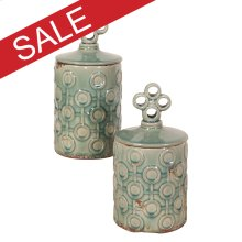Rustic Sea Blue Ceramic Jar Set with Lids