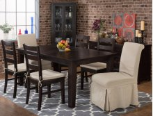 Prospect Creek Rectangle Dining Table With Four Slipcovered Parson Chairs