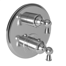 "Gloss Black 1/2"" Round Thermostatic Trim Plate with Handle"