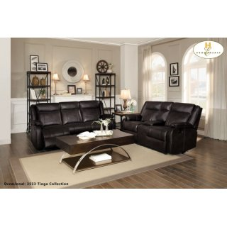 Jude Reclining Sofa w/ Center Drop-Down Cup Holders Brown