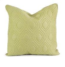 IK Kavita Green Linen Quilted Pillow w/ Down Fill