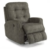 Devon Fabric Power Rocking Recliner with Nailhead Trim