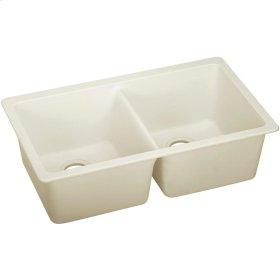 """Elkay Quartz Luxe 33"""" x 18-1/2"""" x 9-1/2"""", Equal Double Bowl Undermount Sink, Parchment"""