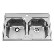 Double Bowl 1 Faucet Holes Double Bowl Top-Mount(Deck Silk/Bowl Silk)