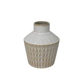 """Ceramic 7"""" Tribal Look Vase, Beige"""