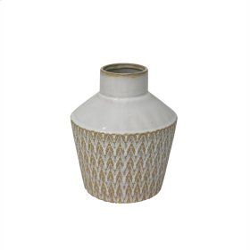 "Ceramic 7"" Tribal Look Vase, Beige"