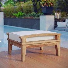 Marina Outdoor Patio Teak Ottoman in Natural White