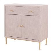 Ricci Raffia Pattern Small Cabinet 1 Drawer + 2 Doors Brushed Gold Legs, Cream Product Image