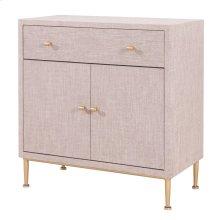 Ricci Raffia Pattern Small Cabinet 1 Drawer + 2 Doors Brushed Gold Legs, Cream