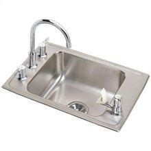 "Elkay Lustertone Classic Stainless Steel 25"" x 17"" x 5"", Single Bowl Drop-in Classroom ADA Sink+Faucet/Bubbler Kit"