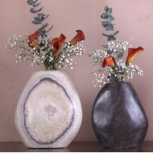 "Pebble Vases 10"" H / Antique Gray Limestone"