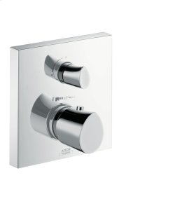 Polished Gold Optic Thermostatic mixer for concealed installation with shut-off valve