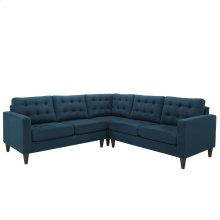 Empress 3 Piece Upholstered Fabric Sectional Sofa Set in Azure