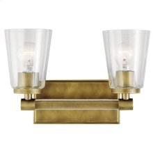 Audrea 2 Light Vanity Light Natural Brass