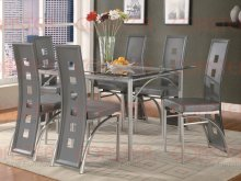 "DINING CHAIR/SILVER/GREY 17-1/2""X20-1/2""X41""H"