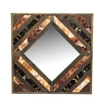 Wood/marble Mirror, Brown/black, Wb