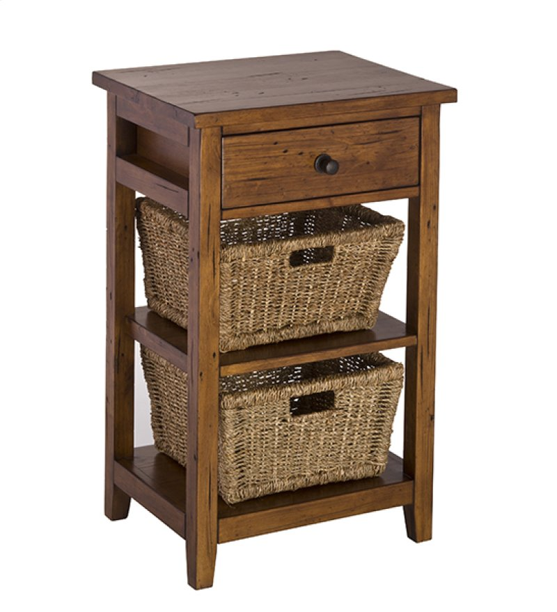 Tuscan Retreat 2 Basket Stand Antique Pine Hidden