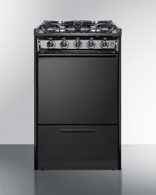 "20"" Wide Slide-in Gas Range In Black With Sealed Burners and Electronic Ignition; Replaces Tnm114r"