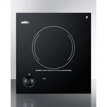 115v Single Burner Cooktop In Black Ceramic Glass, Made In Europe