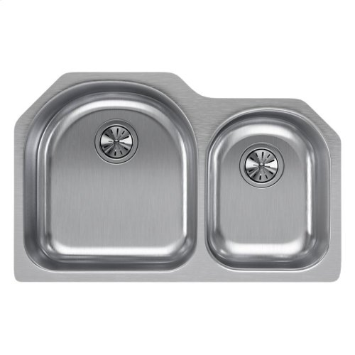 """Elkay Lustertone Classic Stainless Steel 31-1/4"""" x 20"""" x 10"""", Offset 60/40 Double Bowl Undermount Sink"""
