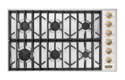 """36"""" Gas Cooktop, Natural Gas, Brass Accent"""