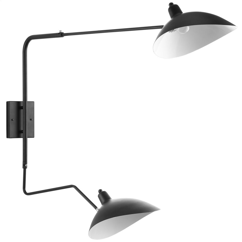 View Double Fixture Wall Lamp in Black