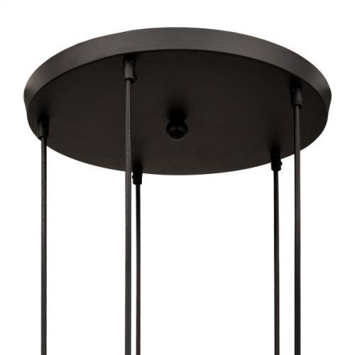 5 Light Pendant in Black Finish