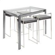 Fuji 5pc Counter Set - Brushed Stainless Steel, Black Pu Product Image