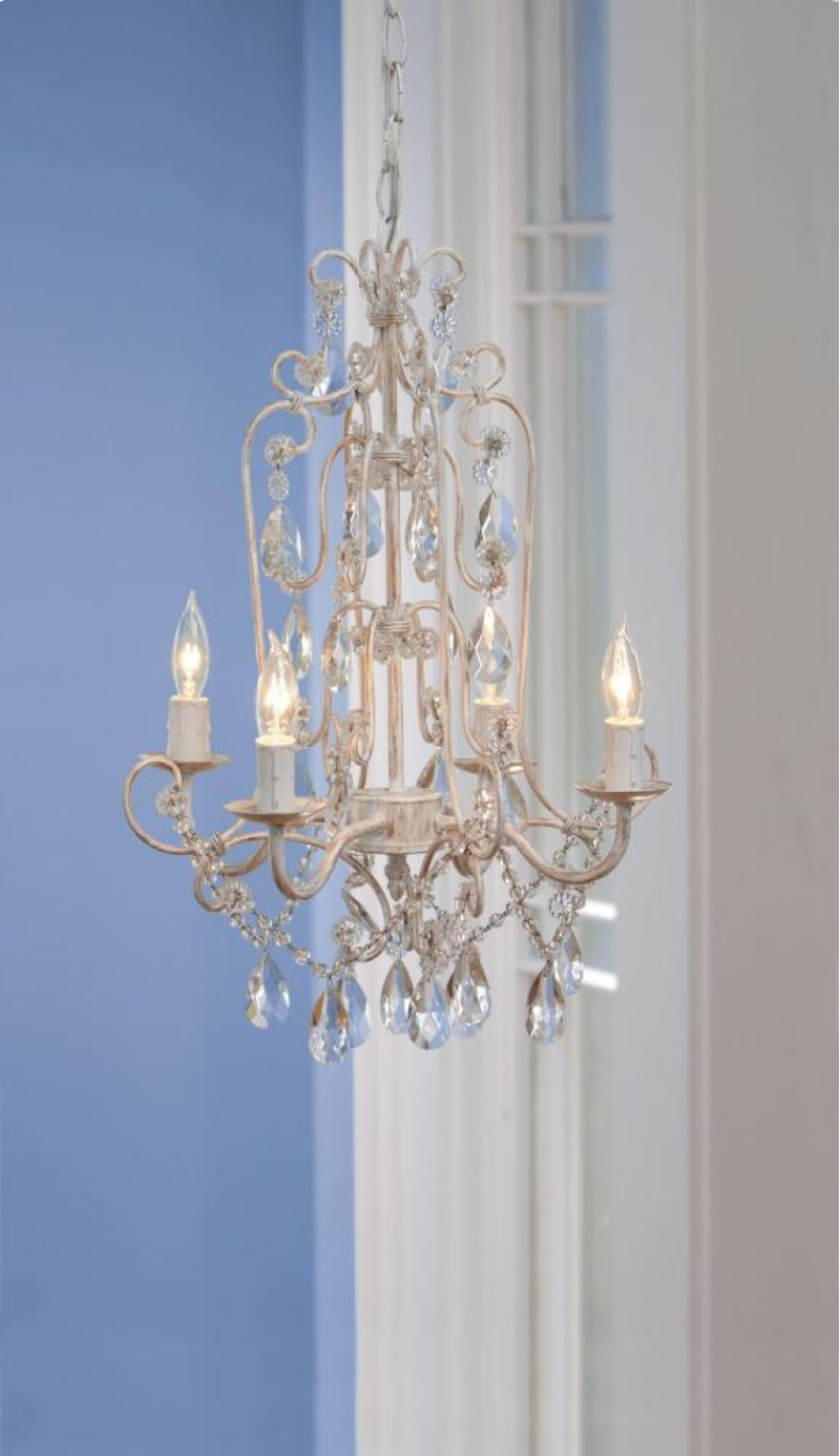 291269 In By Midwest Cbk Manila Ar Antique White And Gold Four Wiring A Plug To Light Fixture Hidden Additional Arm Beaded Chandelier 25w Max