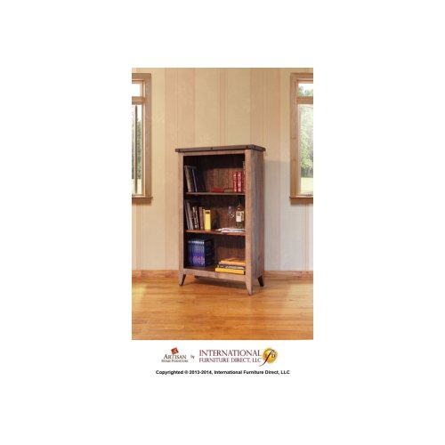 Bookcase, 12 different positions available for shelves (includes 2 removable shelves, (1 middle fixed shelf+2)*