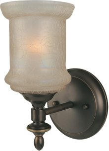 1-lite Wall Lamp, Bronze W/glass Shade, Type A 60w
