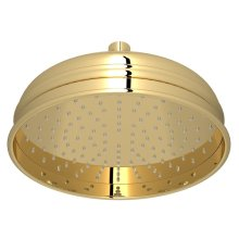 "Unlacquered Brass 8"" Bordano Rain Anti-Cal Showerhead"