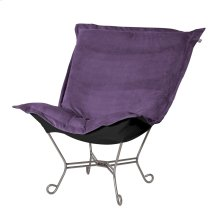 Scroll Puff Chair Bella Eggplant Titanium Frame