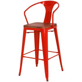 Metropolis Metal Bar Stool Wood Seat, Red