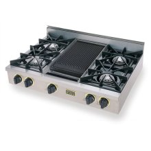 "36"" Gas Cooktop, Open Burners, Stainless Steel with Brass"