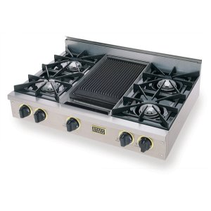 "Five Star36"" Gas Cooktop, Open Burners, Stainless Steel with Brass"