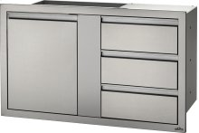 """42"""" X 24"""" Large Single Door & Triple Drawer and Triple Drawer , Stainless Steel"""