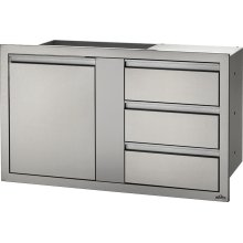 "42"" X 24"" Large Single Door & Triple Drawer and Triple Drawer , Stainless Steel"