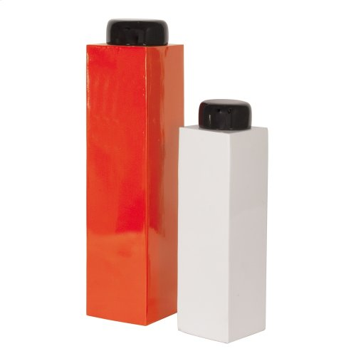 Orange & White Vase Set