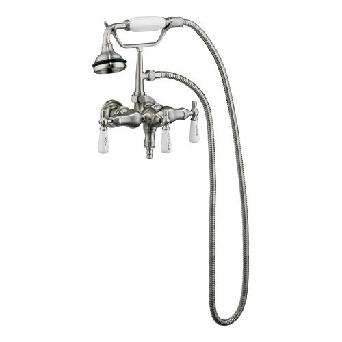 Clawfoot Tub Filler - Hand Held Shower, Old Style Spigot - Polished Nickel