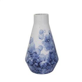 """Ceramic 9"""" Beaker Vase, White/blue"""