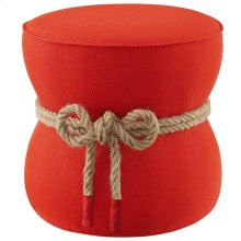 Beat Nautical Rope Upholstered Fabric Ottoman in Atomic Red