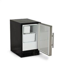 """15"""" ADA Height Compact Crescent Ice Machine - Solid Black Door, Stainless Handle - Left Hinge"""
