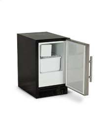 "15"" ADA Height Compact Crescent Ice Machine - Solid Black Door, Stainless Handle - Left Hinge"