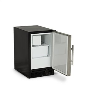 """15"""" ADA Height Compact Crescent Ice Machine - Solid Black Door, Stainless Handle - Right Hinge"""