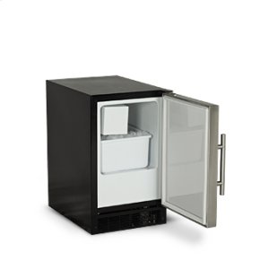 "Marvel15"" ADA Height Compact Crescent Ice Machine - Solid Black Door, Stainless Handle - Left Hinge"