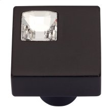 Crystal Off Center Square Knob 1 Inch - Matte Black
