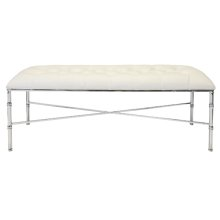 Nickel Plated Bamboo Bench With White Vinyl Upholstery